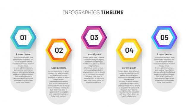 Business infographic sjabloon met zeshoeken.