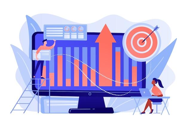 Business intelligence-experts zetten gegevens om in nuttige informatie. bedrijfsinformatie, bedrijfsanalyse, it-beheerhulpmiddelen concept