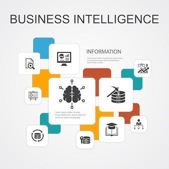 Business intelligence infographic 10 lijn pictogrammen template.data mining, kennis, visualisatie, besluit eenvoudige pictogrammen