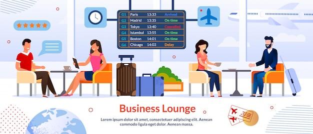 Business lounge in sjabloon voor spandoek van luchthavenreclame