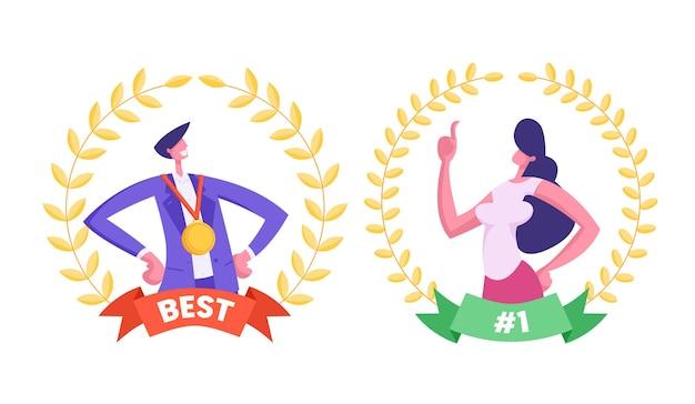 Business man en vrouw beste werknemersmanagers binnenkant van golden award krans