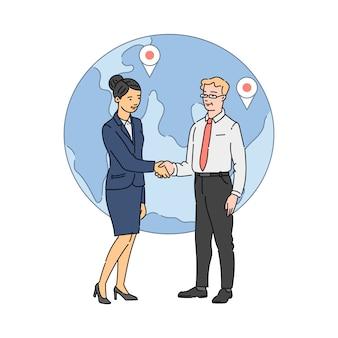 Business man en vrouw handen schudden op wereldbol