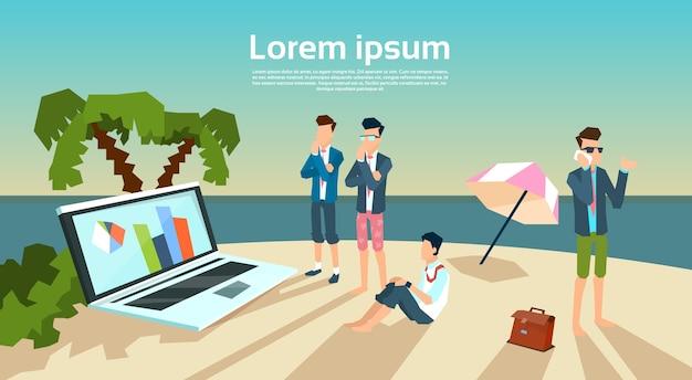 Business man groep samenwerking werkzaamheden op strand