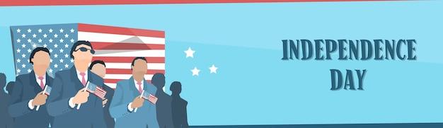Business man group hold verenigde staten flag independence day