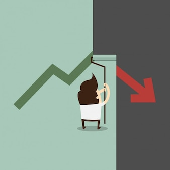 Business man het corrigeren van de dalende grafische