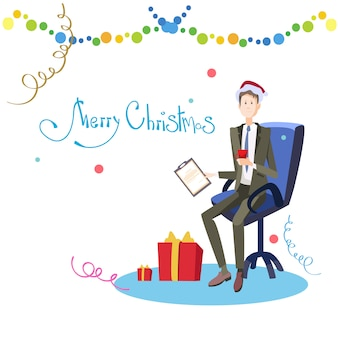 Business man hold contract vier merry christmas