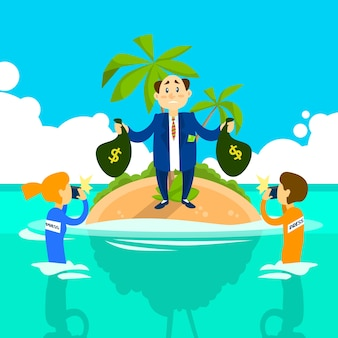 Business man hold money bag offshore island, press reporters