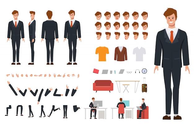 Business man karakter creatie voor animatie. klaar voor geanimeerde gezichtsemoties en mond kantoormeubilair apparatuur en gereedschappen.