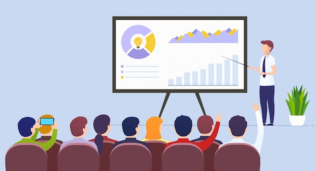 Business man leraar houdt een lezing over e-commerce marketing illustratie