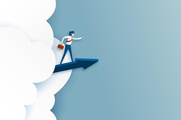 Business man manager rijden blauwe pijl en richting. beslissing, succesvol en bedrijfsconcept. papier kunst vectorillustratie.
