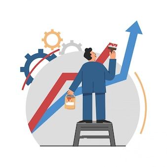 Business man painting curve van zakelijke prestaties