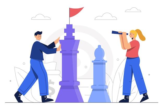 Business man plant een bedrijf zoals het spelen van een spelletje schaak met de bedrijfsassistent van een concurrent.