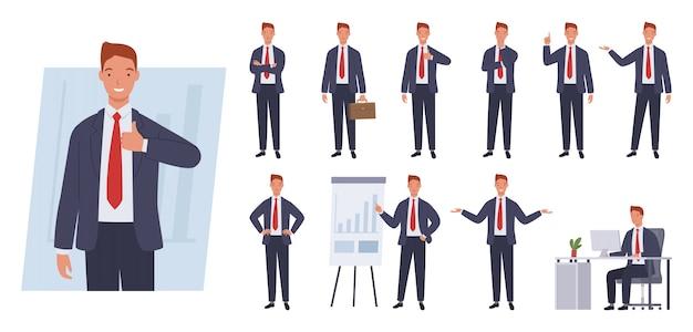 Business man tekenset. verschillende poses en emoties.