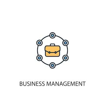 Business management concept 2 gekleurde lijn pictogram. eenvoudige gele en blauwe elementenillustratie. business management concept schets symbool ontwerp