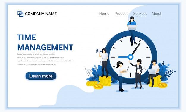 Business management concept, geldbesparing, tijd is geld, bespaar tijd met tekens.