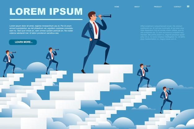 Business mans op witte trappen op zoek in de toekomst met spyglass cartoon karakter ontwerp vector