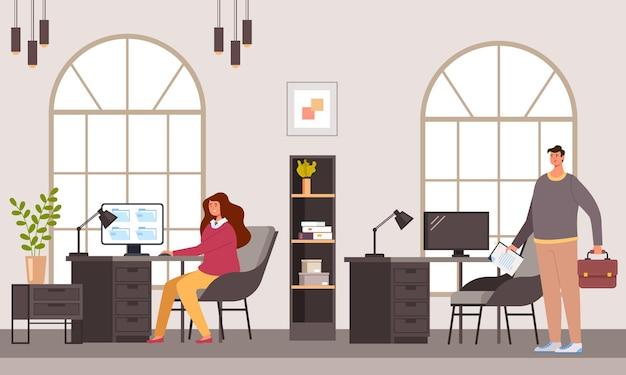 Business mensen kantoorpersoneel karakters werken samen Premium Vector