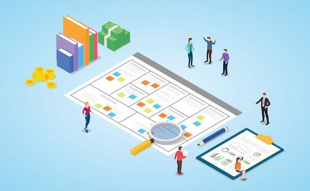 Business model canvas concept met papieren document gebruik moderne isometrische stijl