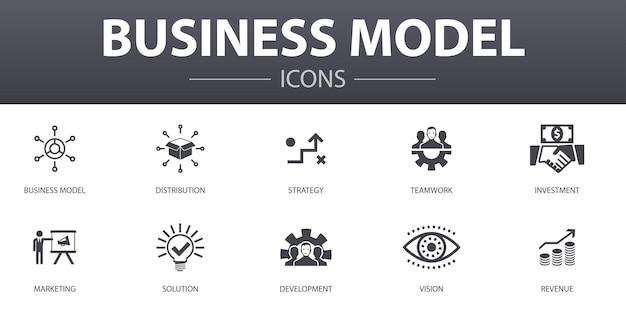 Business model eenvoudig concept pictogrammen instellen. bevat iconen als strategie, teamwork, marketing, oplossing en meer, kan worden gebruikt voor web, logo, ui/ux