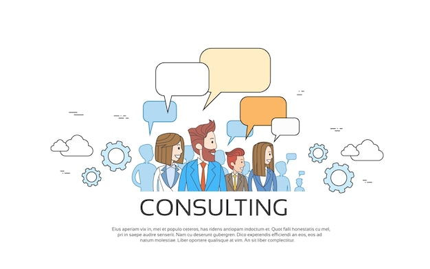 Business people consulting group