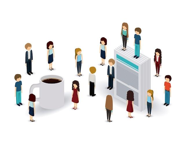 Business people isometrics ontwerp