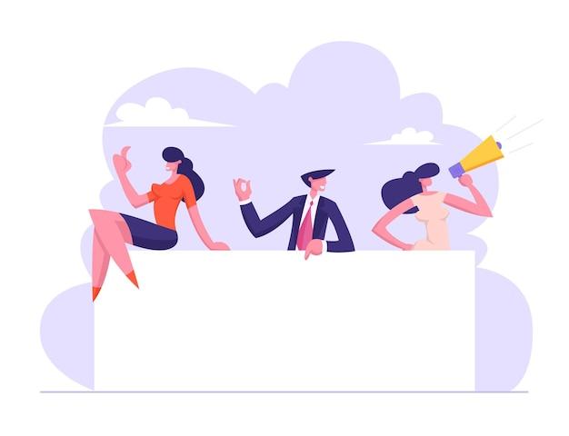 Business people team holding blank board illustration