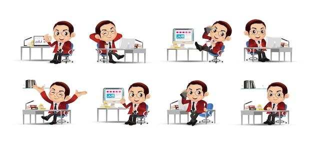 Business person set mensen uit het bedrijfsleven zitten voor zijn tafel