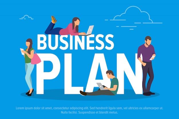 Business plan concept illustratie. mensen uit het bedrijfsleven die apparaten gebruiken voor werken op afstand en professionele groei.