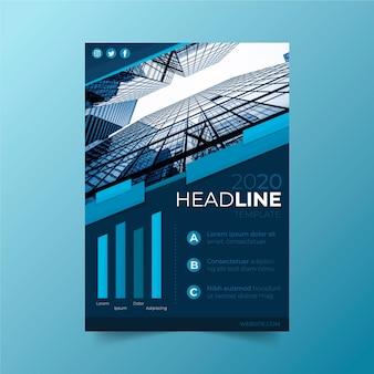 Business poster sjabloon met glazen gebouwen