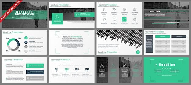 Business powerpoint-presentatie schuift sjablonen van infographic elementen.