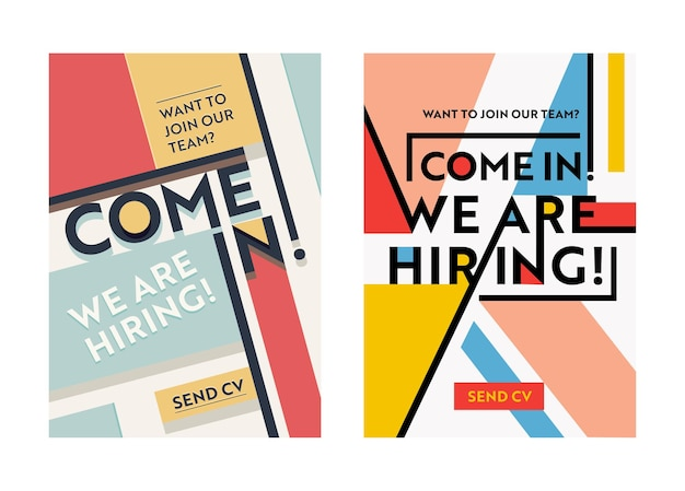 Business recruiting banner design set, wervingsposters inhuren, we huren typografie op geometrische retro en moderne gekleurde vormen achtergrond. flyer, brochure voorbladsjabloon. vector illustratie