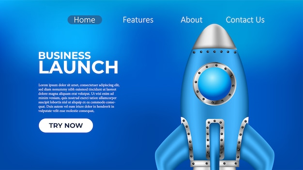 Business rocket launch project landing-pagina