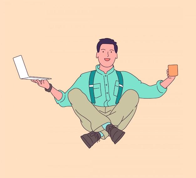 Business, rust, meditatie, yoga, ontspanningsconcept. zakenman ontspanning in lotus houding, geniet met koffiepauze. illustratie.