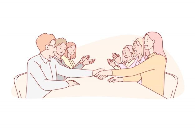 Business, samenwerking, onderhandeling, team, overeenkomst concept