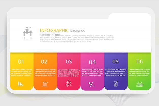 Business sjabloon 6 elementen van de opties infographic grafiek