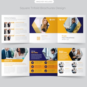 Business square trifold brochure design