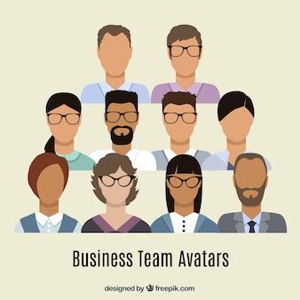 Business team avatars in plat design