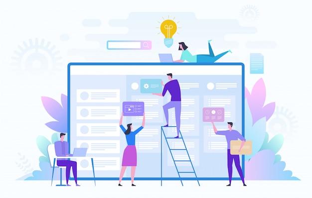 Business team bezig met groot project. teamwork, communicatie, interactie, bedrijfsproces