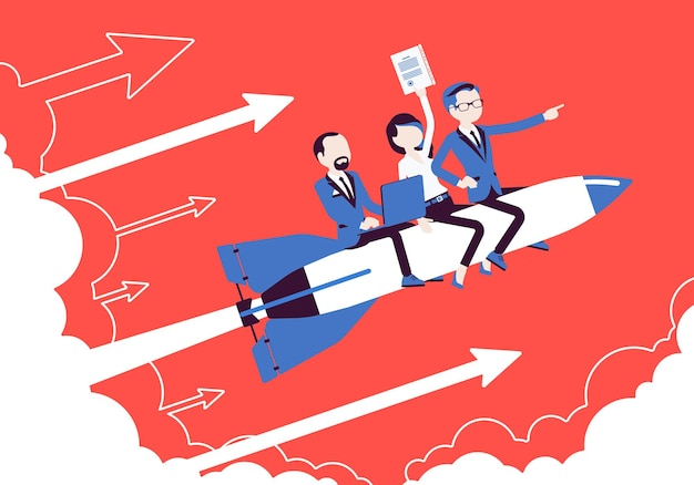 Business team gaat hoog naar succes op raket. leiders brengen bedrijf naar de top, winstgevende strategie ontwikkelt zich in de goede richting. motivatie bedrijfsconcept. vectorillustratie, gezichtsloze karakters