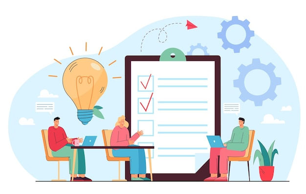 Business team ideeën delen tijdens vergadering