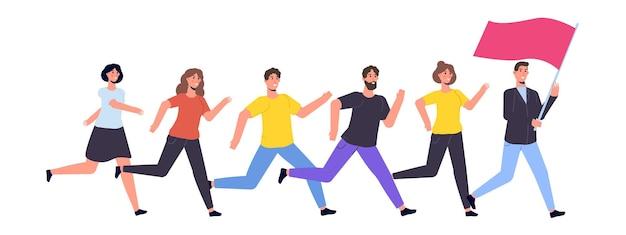 Business team, mensen lopen met vlag. vector illustratie