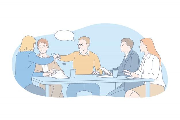 Business, team, onderhandeling, interview concept