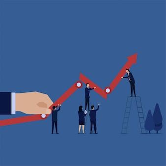 Business team opgezet lijndiagram op doel