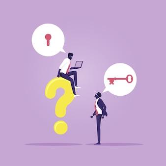 Business team overleggen met elkaar om problemen op het werk op te lossen, oplossingen te vinden