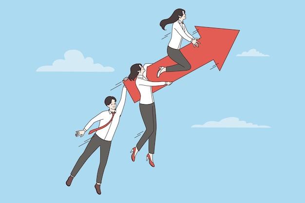 Business team, succes, ontwikkelingsconcept. groep lachende mensen uit het bedrijfsleven stripfiguren collega's team rijden op pijl omhoog vectorillustratie