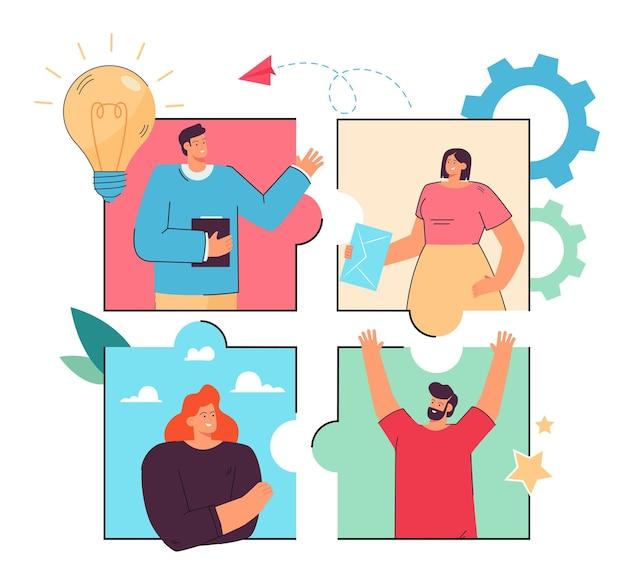 Business team werkt aan project online via internet