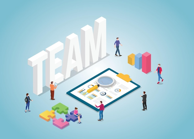 Business team werkt samen met grafiek en grafiek met moderne isometrische stijl