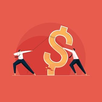 Business team worstelt met zakelijke crises en financiële inflatie