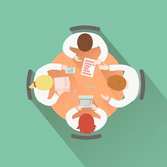 Business teamwork concept bovenaanzicht groep mensen met een vergadering discussie en brainstormen sessie