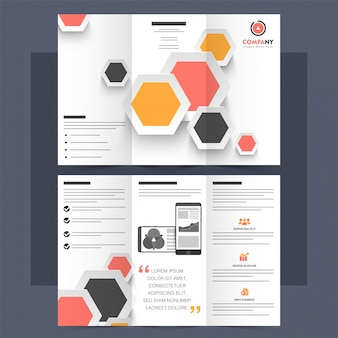 Business tri-fold brochure, corporate leaflet design.